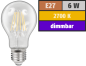 "Preview: LED Filament Glühlampe  dimmbar  ""Filed"", E27, 6W, 600 lm, warmweiß, klar Alternative für 60W Glühbirnen"