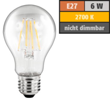 "LED Filament Glühlampe ""Filed"", E27, 6W, 600 lm, warmweiß, klar Alternative für 60W Glühbirnen"