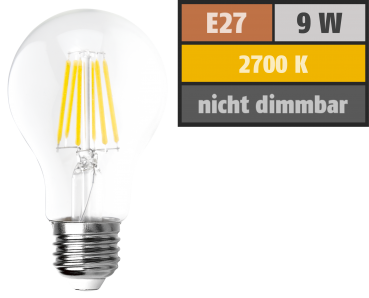 "LED Filament Glühlampe ""Filed"", E27, 9 Watt, 1055 Lumen, warmweiß, klar, Alternative für 100W Glühbirnen"