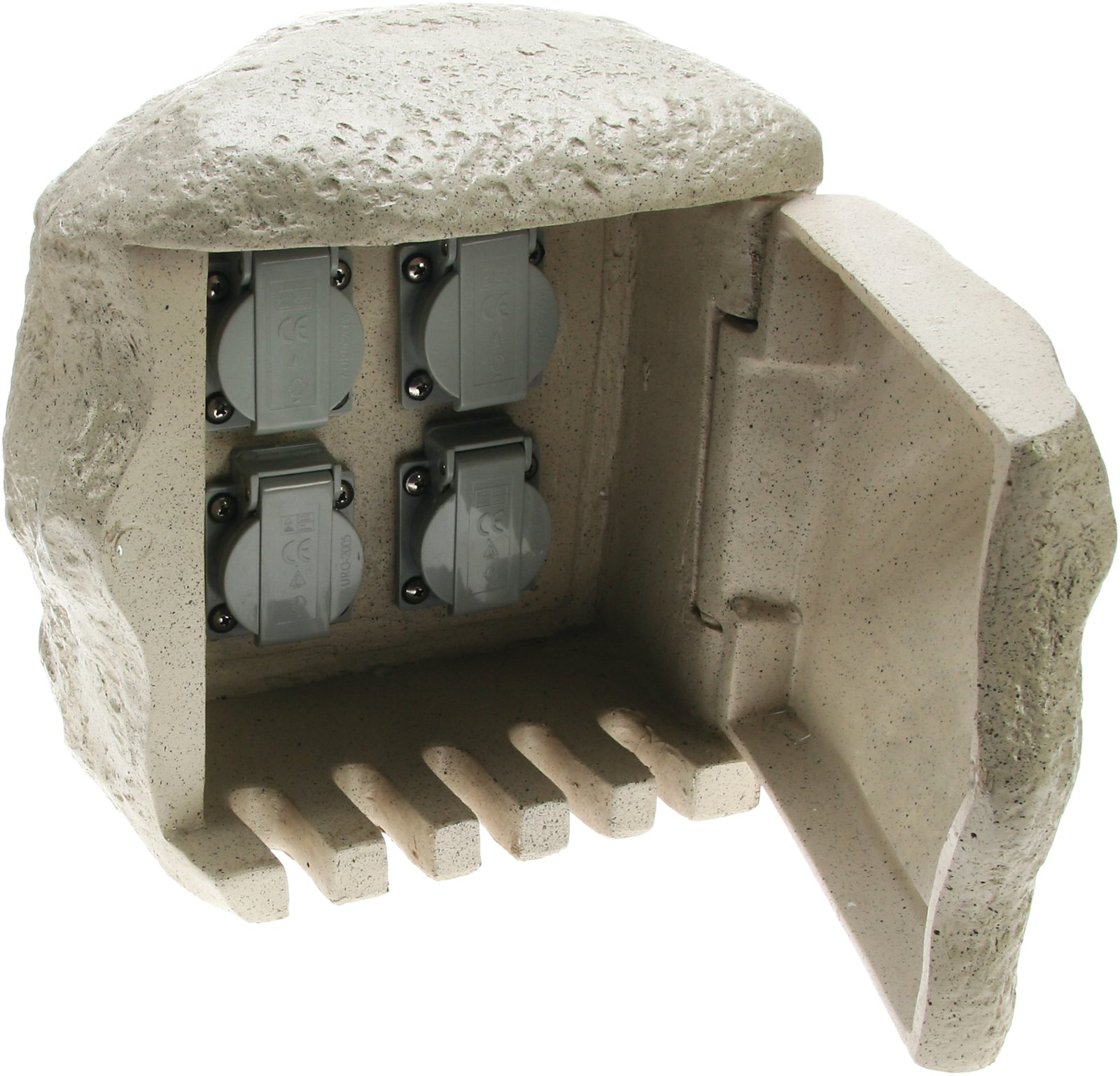 mehrfach steckdose stein 4 fach au en granit f r direktanschluss. Black Bedroom Furniture Sets. Home Design Ideas