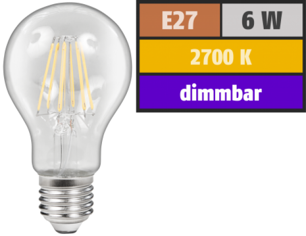 "LED Filament Glühlampe  dimmbar  ""Filed"", E27, 6W, 600 lm, warmweiß, klar Alternative für 60W Glühbirnen"